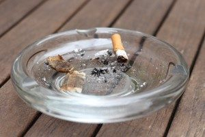 Cigarette kept in a plate